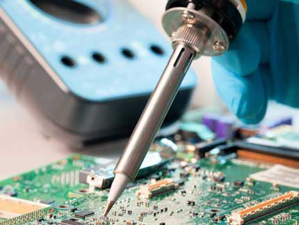 An image of fine soldering activity on a plasma cleaned PCB Panel