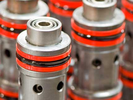 Hydraulic Cartridge Valves in Multiple Rows with O-Ring Seals