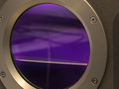 A close up view of a HPT plasma treatment chamber