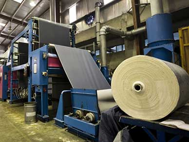 Textile factory with a denim fabric on a roll to roll system